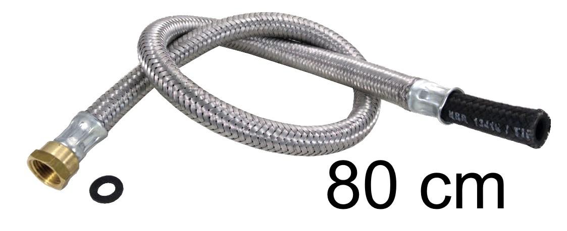 """Mangueira Flexível Malha de Aço 1/2"""" Fêmea x 3/8"""" Bico - 80cm - Ref. 01696"""