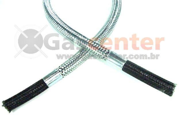 """Mangueira Flexível Malha de Aço 3/8"""" Bico x 3/8"""" Bico - 1,00m - Ref. 01687"""