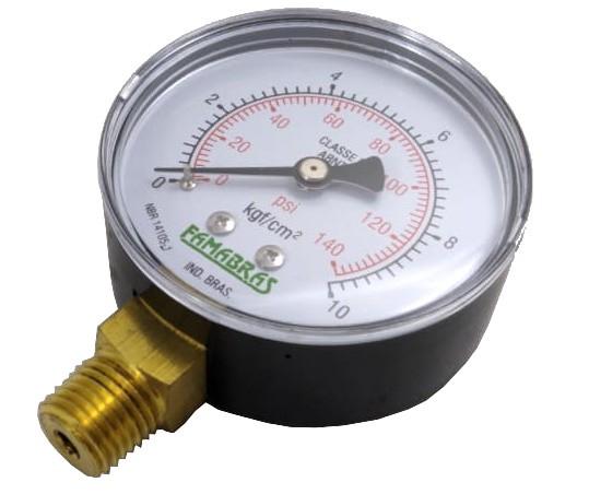 """Manômetro de Gás - 0 a 10Kgf/cm² (140psi) - Rosca 1/4"""" - Visor 60mm - Ref. 00250"""