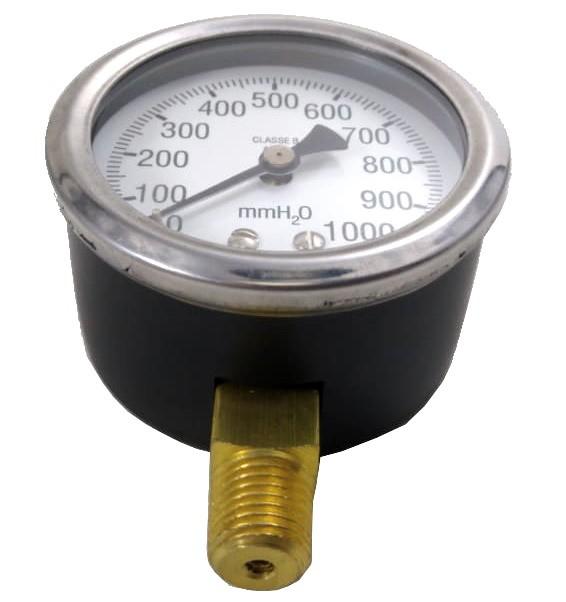 "Manômetro de Gás - 0 a 1000mmca (10kPa) - Rosca 1/4"" - Visor 62mm - Ref. 01993"