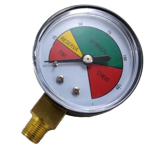 """Manômetro de Gás - 0 a 8Kgf/cm² (125psi) - Rosca 1/8"""" - Visor 50mm - Ref. 00251"""