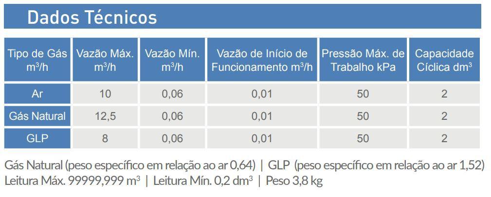 Medidor de Gás LAO - Modelo G6 - Ref. 01953