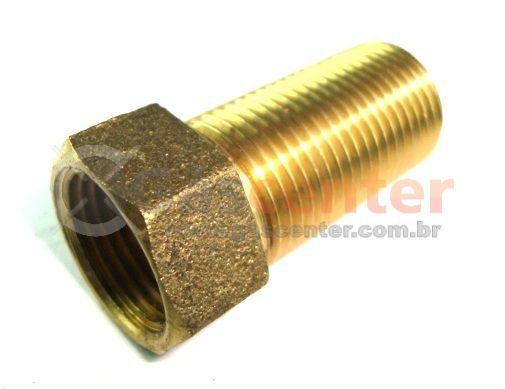 "Prolongador de Latão - 3/4""NPT(M) x 3/4""NPT(F) - 55mm - Ref. 02345"