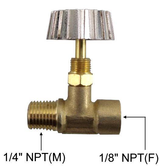 """Registro Alta Pressão de Latão 1/4""""NPT(M) x 1/8""""NPT(F) - Ref. 02778"""