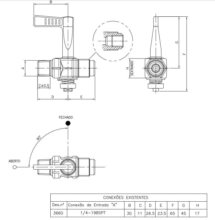 "Registro Industrial 1/4""BSPT(M) x 3/8""SAE ou 1/8""NPT(F) - Ref. 00012"