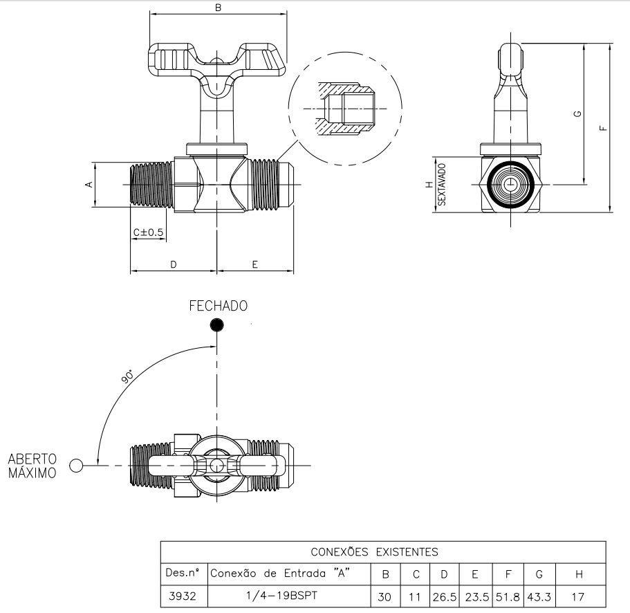 "Registro Industrial CROMADO LEVE 1/4""BSPT(M) x 3/8""SAE ou 1/8""NPT(F) - Ref. 02870"