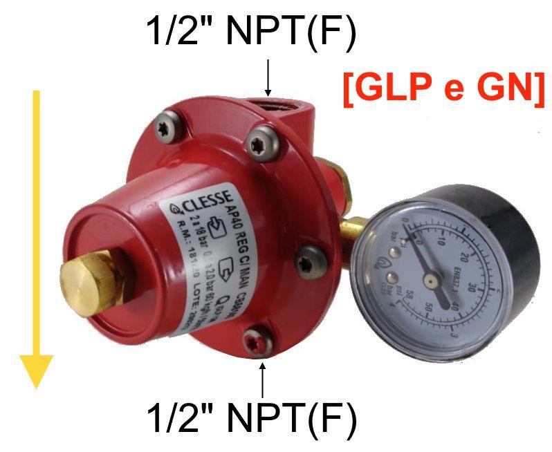 Regulador de Gás CLESSE - AP40 - 60Kg/h ou 50m³/h - GLP ou GN - CB58140 - Ref. 01893