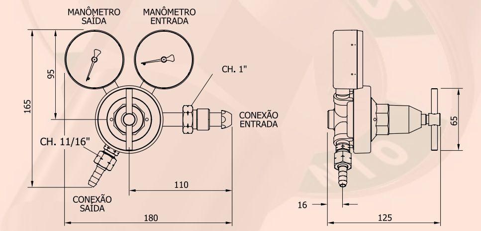 Regulador de ACETILENO - FAMABRAS - Ref. 02608