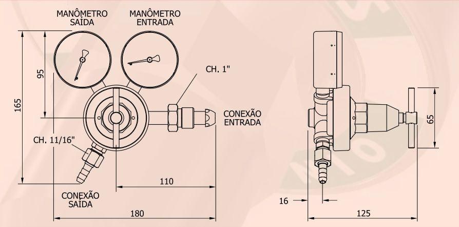 Regulador de ARGONIO (Ar) - FAMABRAS - Ref. 02609