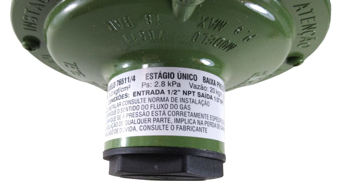 Regulador de Gás ALIANÇA - 20Kg/h VERDE - GLP - 76511/4 VD - Ref. 00453