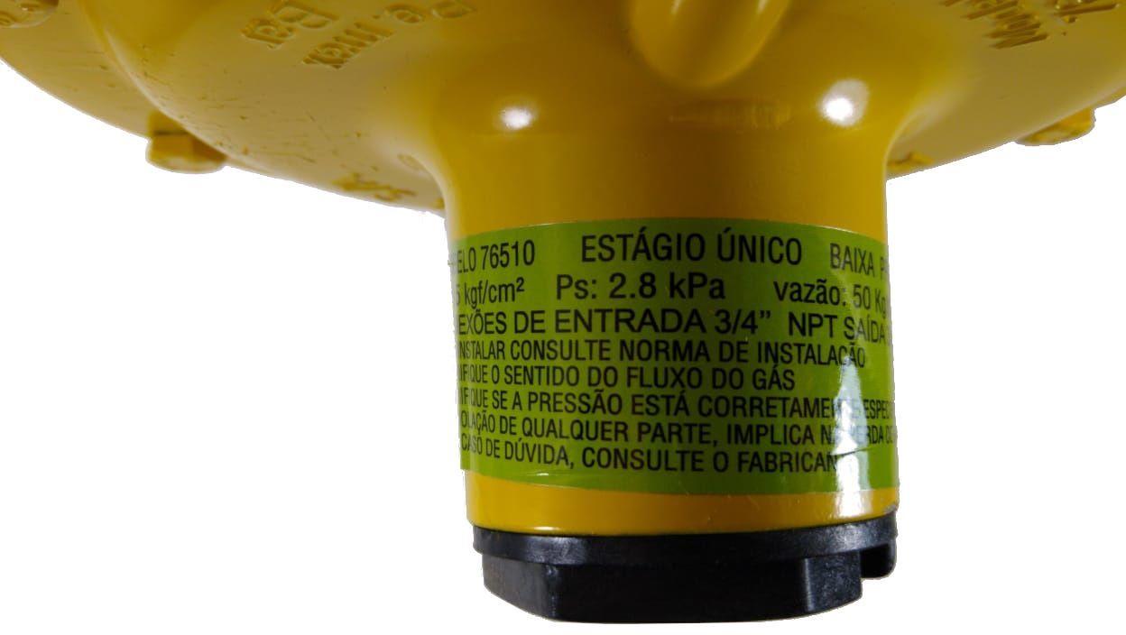 Regulador de Gás ALIANÇA - 50Kg/h AMARELO - GLP - 76510 AM - Ref. 00455
