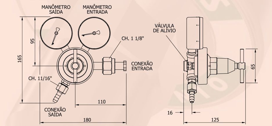 Regulador de GÁS CARBONICO (CO2) - FAMABRAS - Ref. 02606
