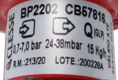 Regulador de Gás CLESSE - 15kg/h - GLP - BP2202 - Ref. 01896