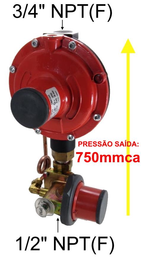 Regulador de Gás CLESSE - 25m³/h - Ps: 750mmca - GÁS NATURAL - BP2303 com OPSO - Ref. 02699