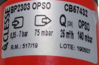 Regulador de Gás CLESSE - 25m³/h - GÁS NATURAL - BP2303 com OPSO - Ref. 02699