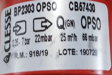 Regulador de Gás CLESSE - 25m³/h - Ps: 220mmca - GÁS NATURAL - BP2303 com OPSO - Ref. 03153