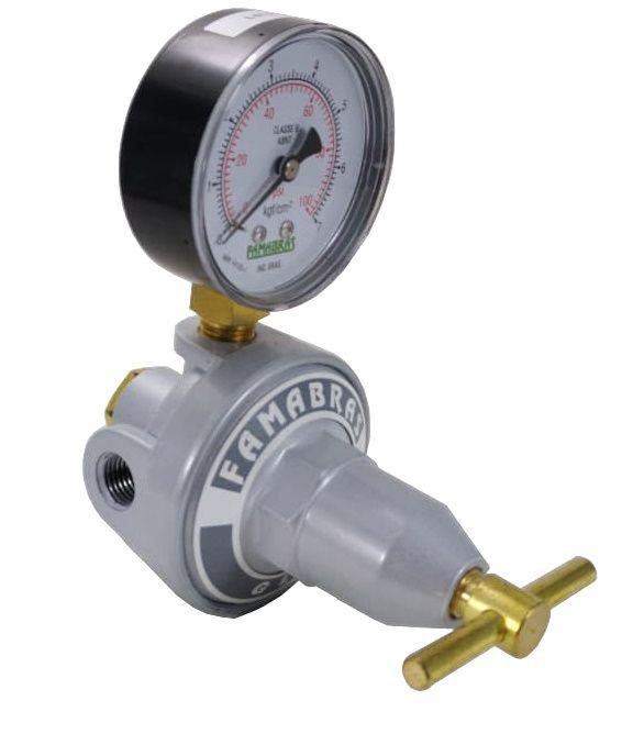 "Regulador de Gás FAMABRAS - 1/4""NPT(F) x 1/4""NPT(F) - Ref. 00456"