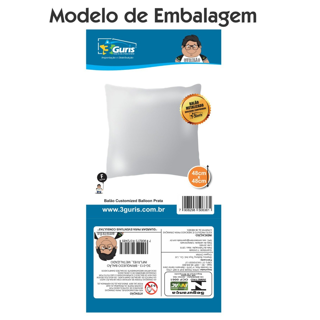 BALÃO CUSTOMIZED BALLOON PRATA - UNIDADE