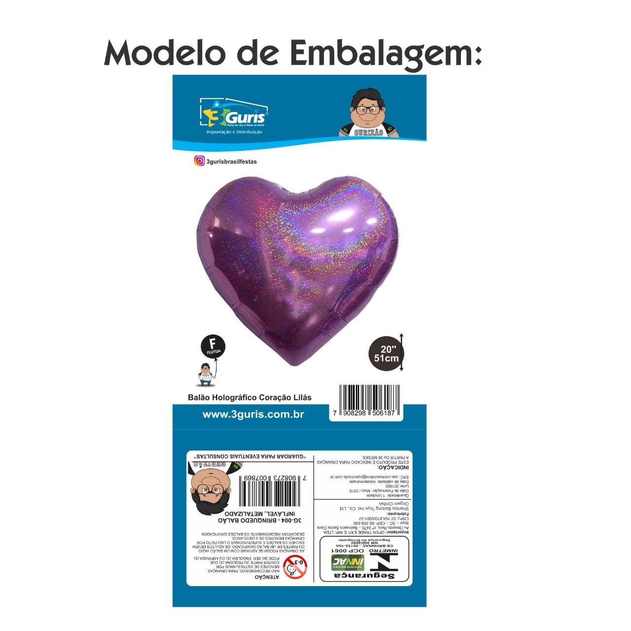BALÃO HOLOGRÁFICO CORAÇÃO VERMELHO