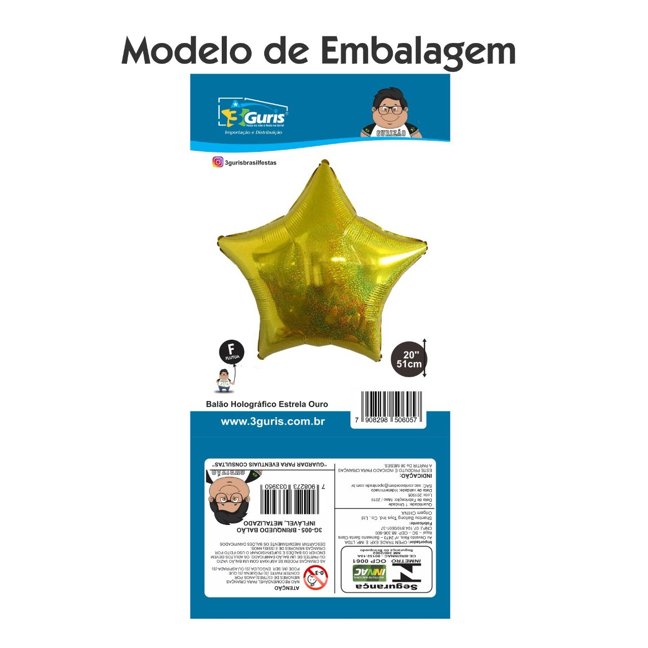 BALÃO HOLOGRÁFICO ESTRELA OURO