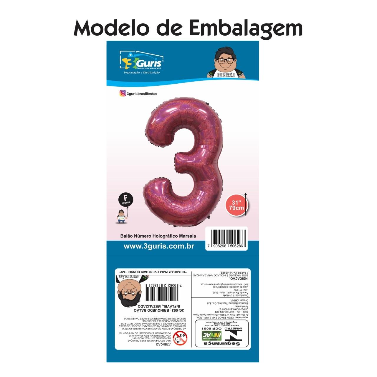 "BALÃO HOLOGRÁFICO ""NÚMERO 3"" MARSALA"