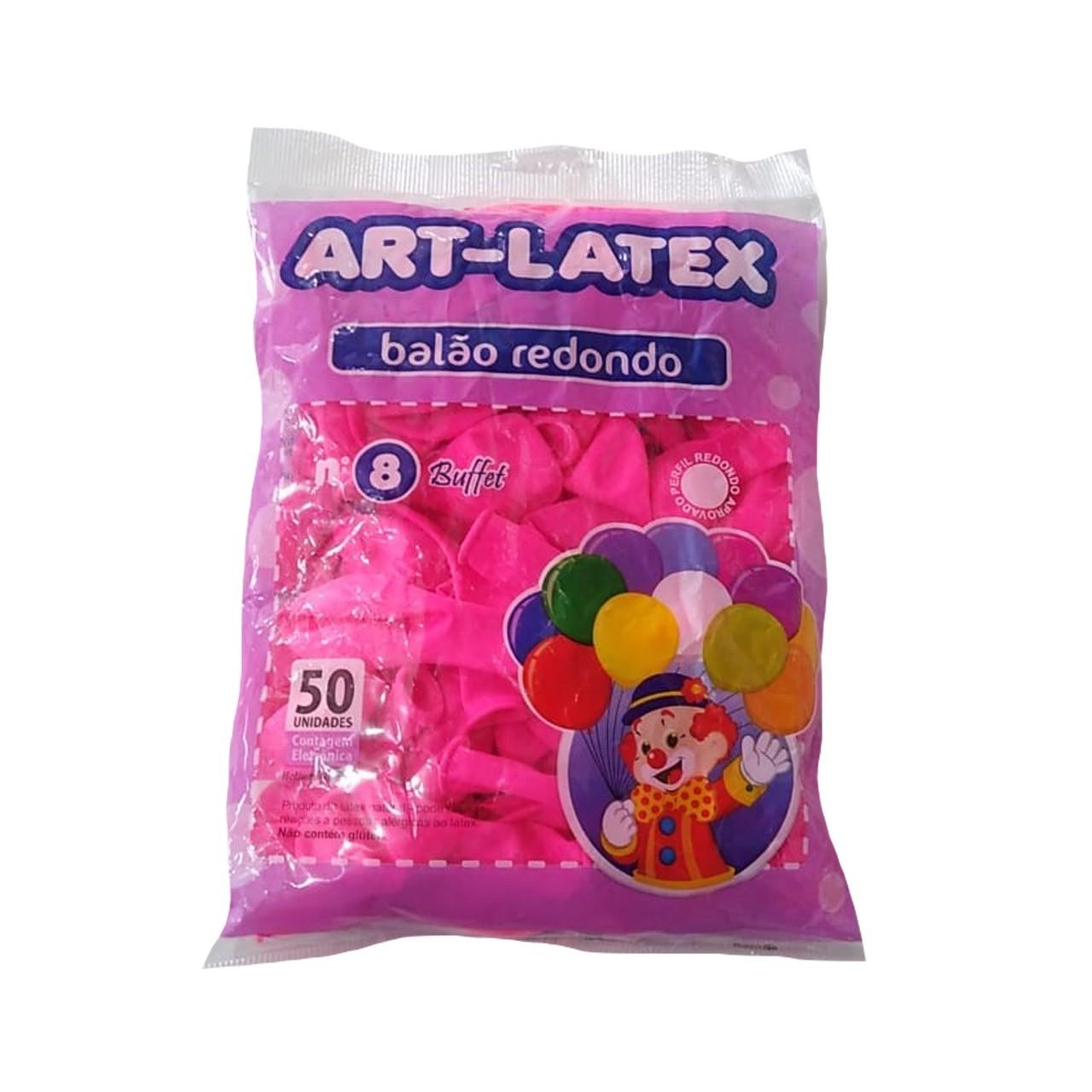 BALÃO LATEX REDONDO BUFFET ROSA PINK - N°8