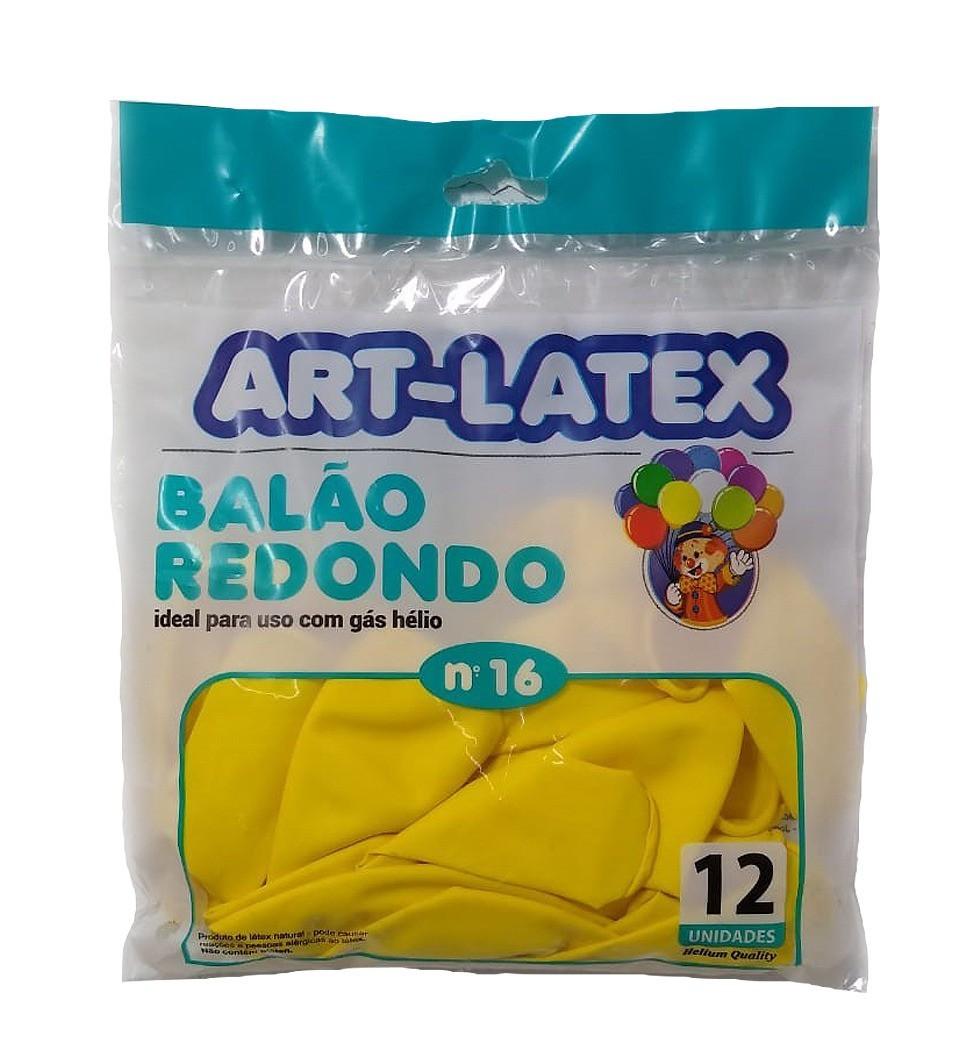 BALÃO LATEX REDONDO LISO AMARELO N°16 - PACOTE DE 12 UNIDADES