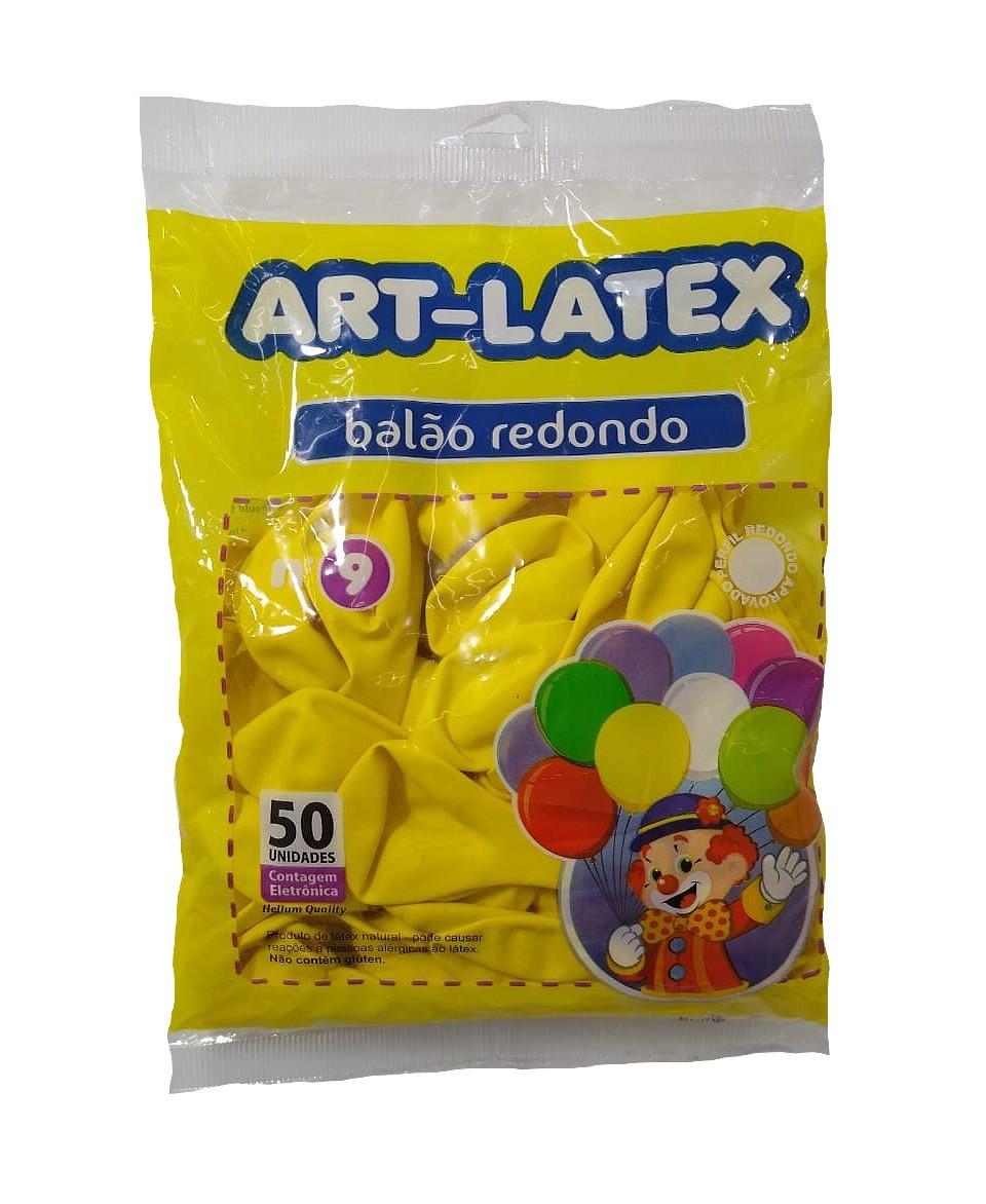 BALÃO LATEX REDONDO LISO AMARELO N°9 - PACOTE DE 50 UNIDADES