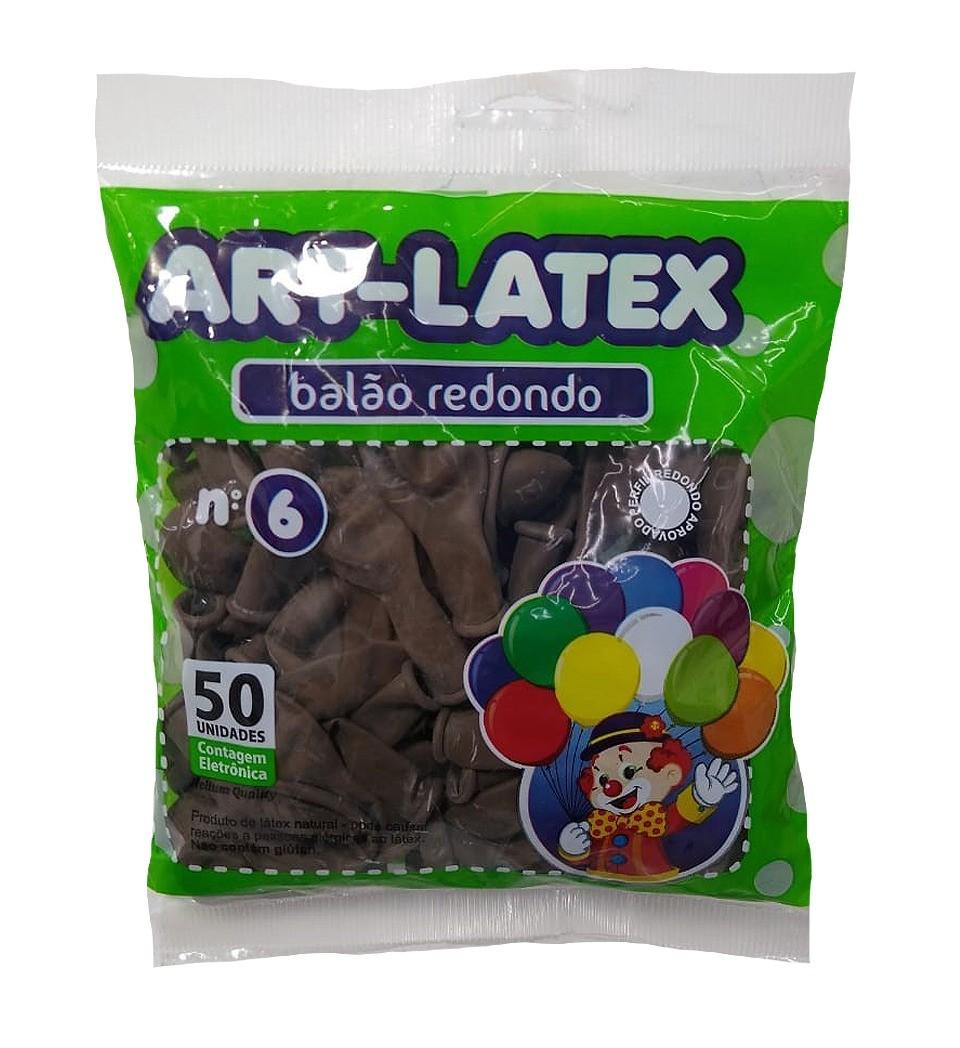 BALÃO LATEX REDONDO LISO MARROM N°6 - PACOTE DE 50 UNIDADES