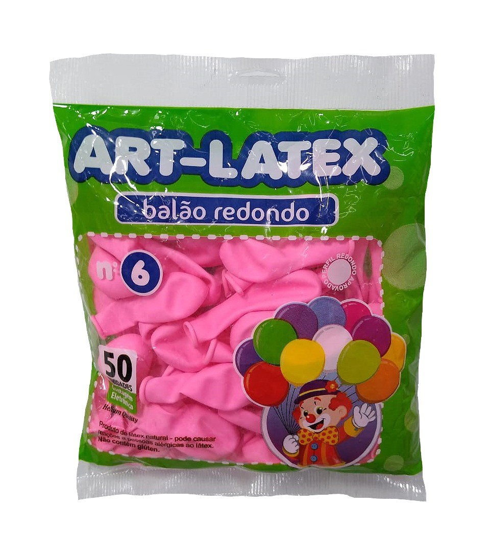 BALÃO LATEX REDONDO LISO ROSA CLARO N°6 - PACOTE DE 50 UNIDADES
