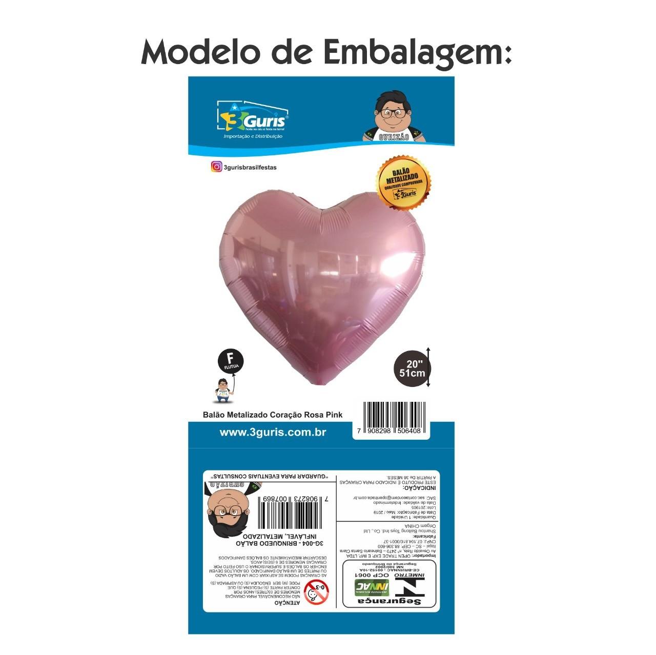BALÃO METALIZADO CORAÇÃO ROSA PINK 51CM