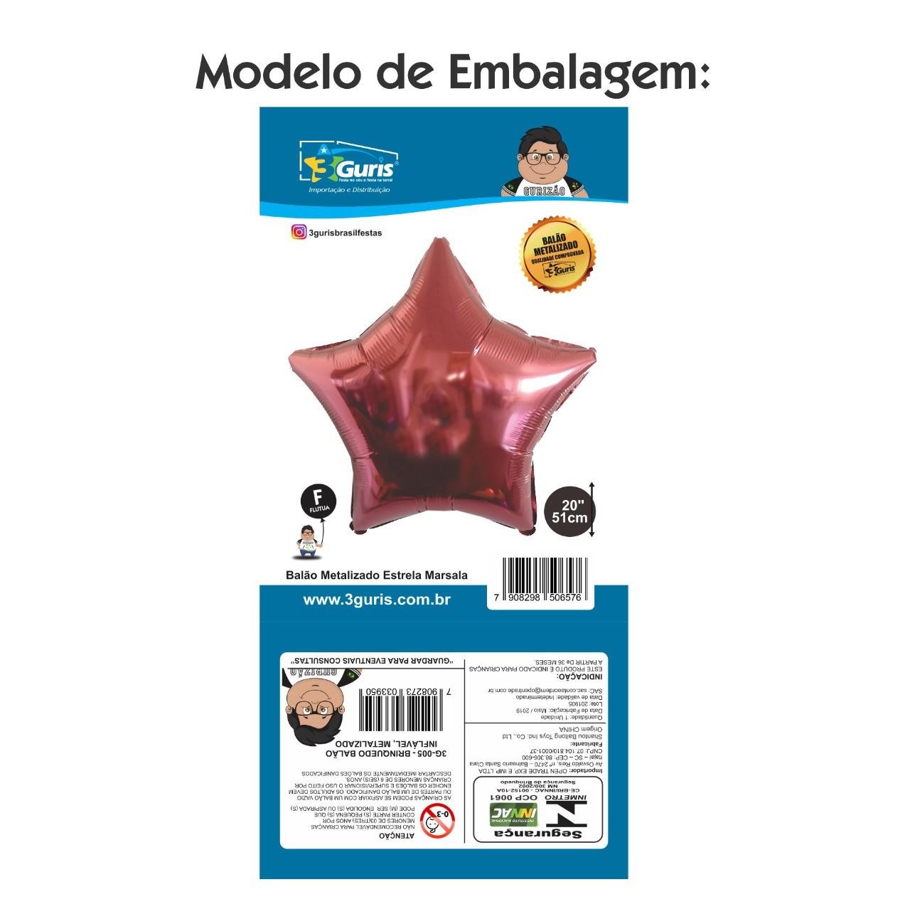 BALÃO METALIZADO ESTRELA MARSALA 51CM