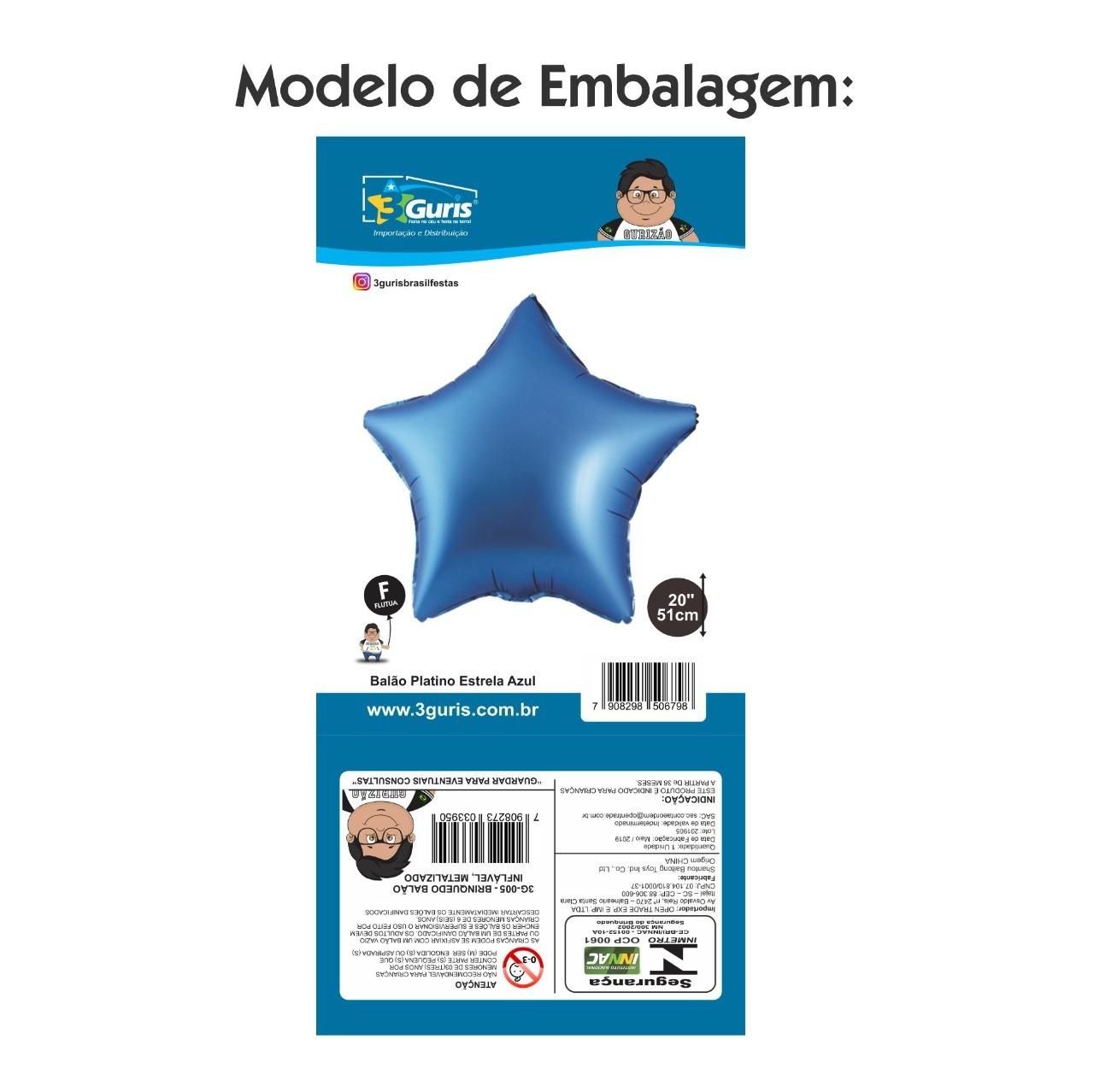 BALÃO PLATINO ESTRELA ROXA 51CM