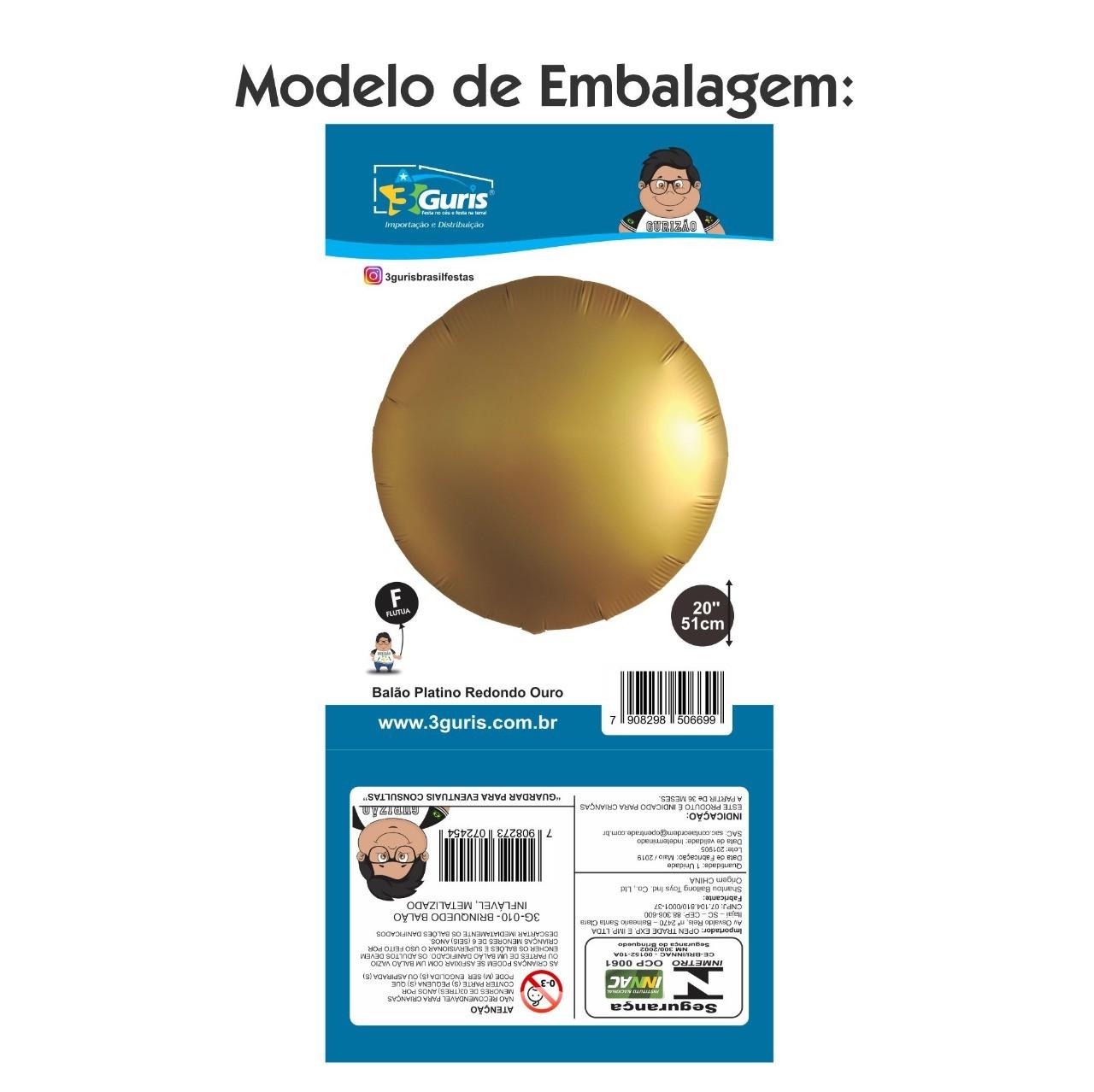 BALÃO PLATINO REDONDO AMARELO 51CM