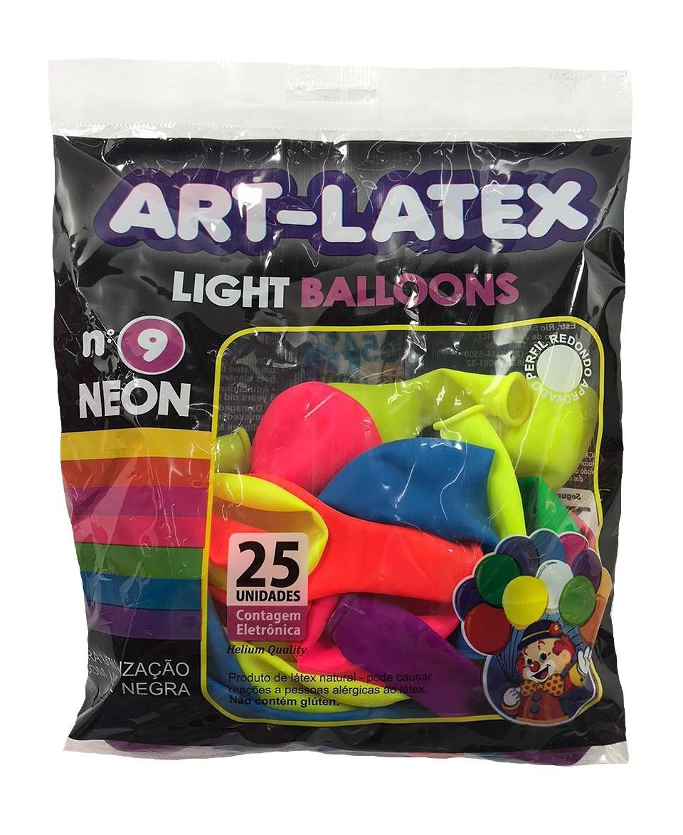 BALÃO LATEX REDONDO LIGHT BALLOONS, NEON - N°9 - 25 UNIDADES