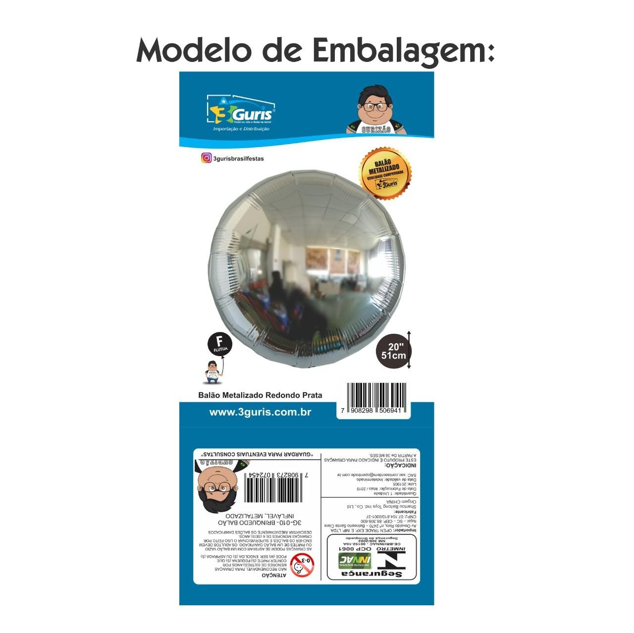 BALÃO METALIZADO REDONDO VERMELHO 51CM