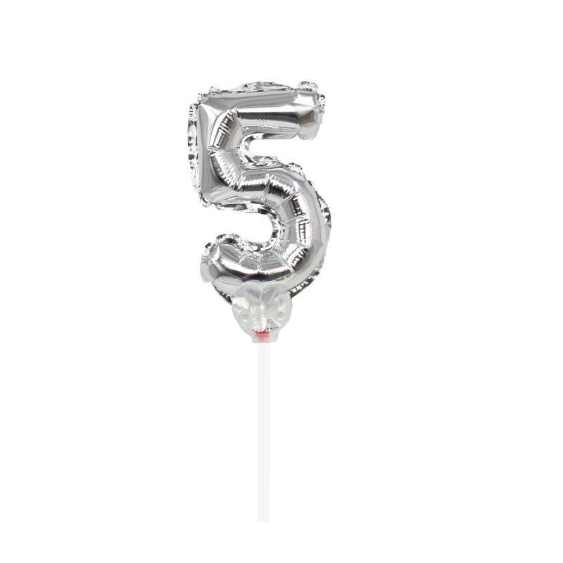 "TOPPER CAKE BALLOON PRATA ""NÚMERO 5"""