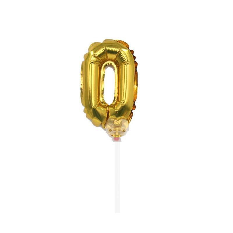 """TOPPER CAKE BALLOON OURO """"NÚMERO 0"""""""