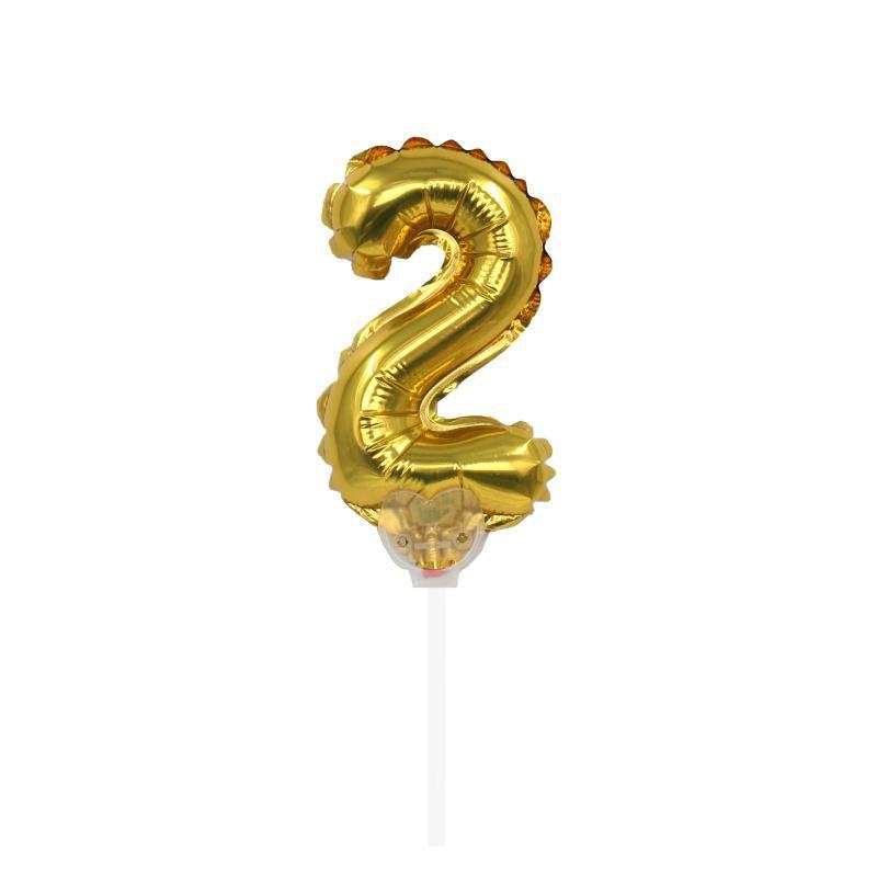 """TOPPER CAKE BALLOON OURO """"NÚMERO 2"""""""