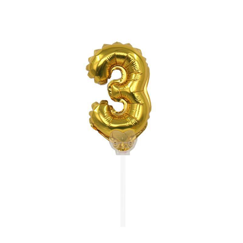 """TOPPER CAKE BALLOON OURO """"NÚMERO 3"""""""