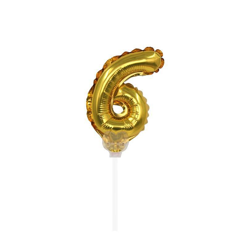 """TOPPER CAKE BALLOON OURO """"NÚMERO 6"""""""