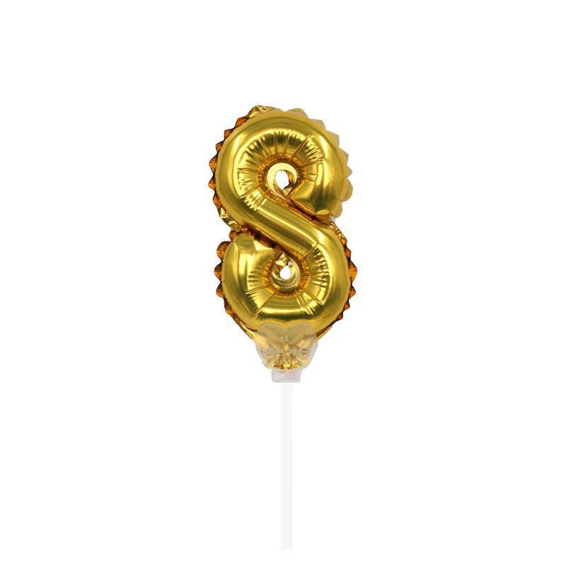 """TOPPER CAKE BALLOON OURO """"NÚMERO 8"""""""