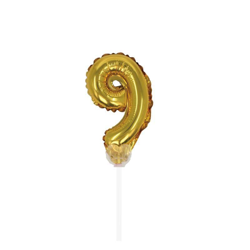 """TOPPER CAKE BALLOON OURO """"NÚMERO 9"""""""