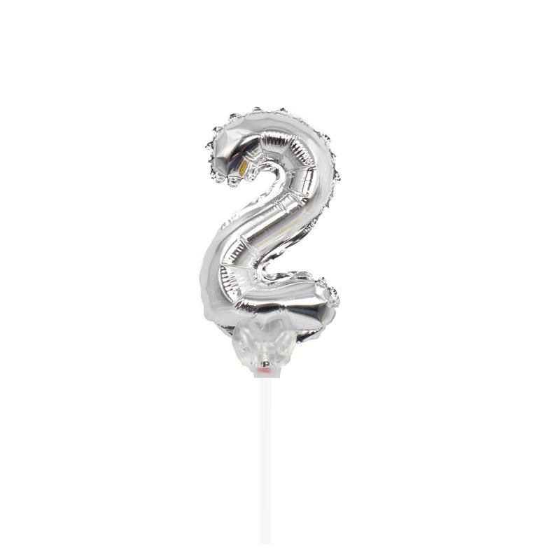 "TOPPER CAKE BALLOON PRATA ""NÚMERO 2"""