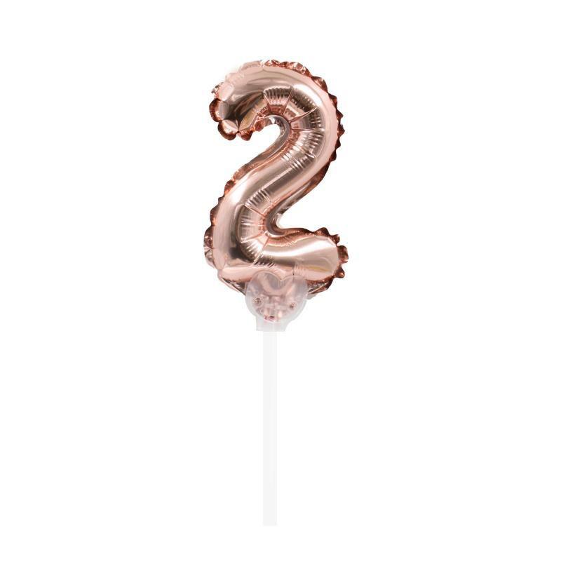 """TOPPER CAKE BALLOON ROSE GOLD """"NÚMERO 2"""""""