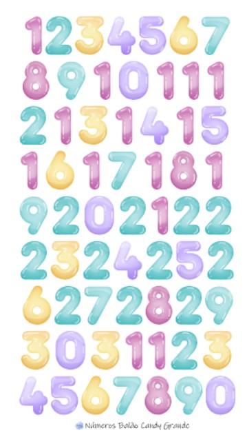 Adesivos Números Balão Candy - GRANDE