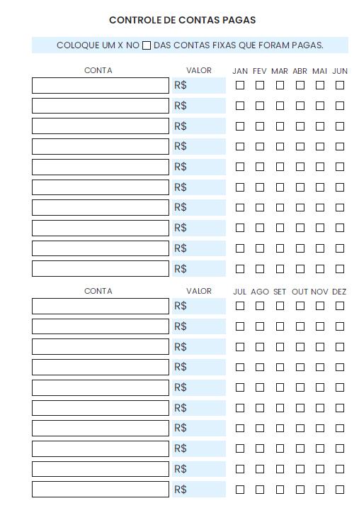 Refil Individual Financeiro A5 - Controle de contas pagas