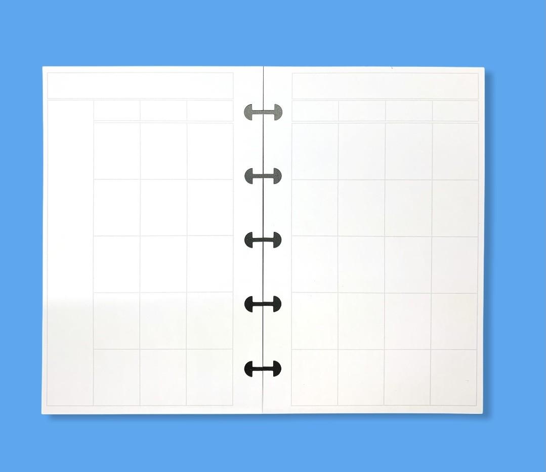 Refil Mensal em Branco Dividido - PEQUENO