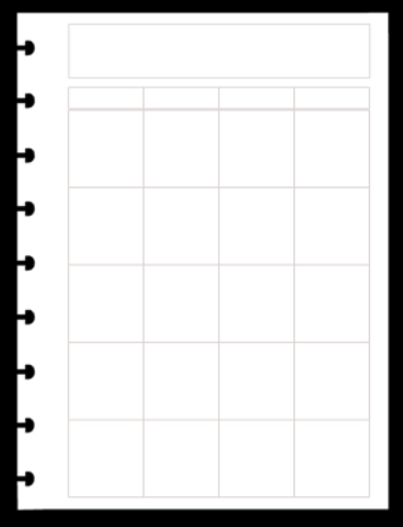 Refil Mensal em Branco Dividido - Tamanho A5