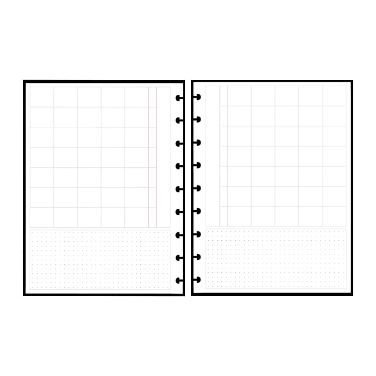 Refil Mensal em Branco Horizontal - Tamanho A5
